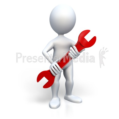 Stick Figure Holding Wrench Presentation clipart