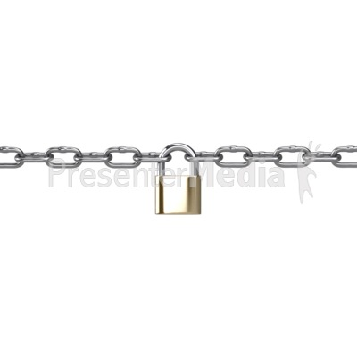 Metal Chain Connected Padlock Presentation clipart