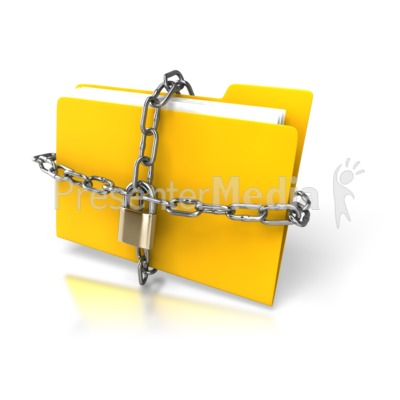 Yellow Folder Chained Up Presentation clipart