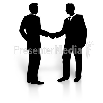 Business Men Silhouette Shake Presentation clipart