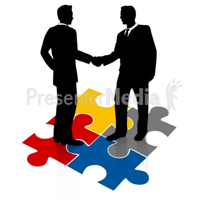 Businessmen Shake Hands Puzzle Presentation clipart
