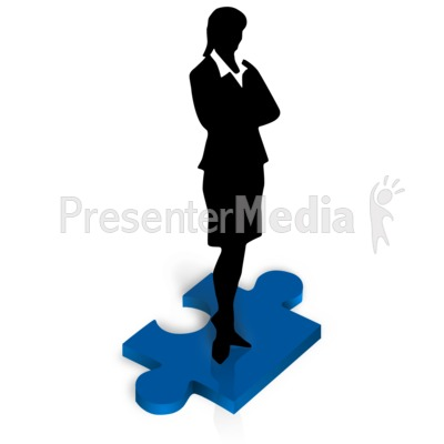 Businesswoman Stand Puzzle Piece Presentation clipart