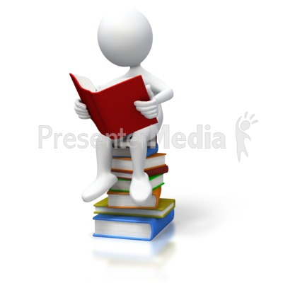 Stick Figure Sitting On Books Presentation clipart
