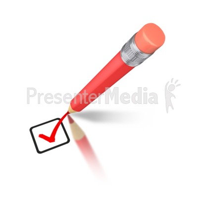 Pencil Drawing Red Check Mark Presentation clipart