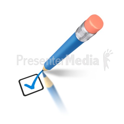 Pencil Drawing Blue Check Mark Presentation clipart