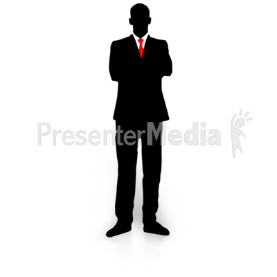 Businessman Silhouette Folded Arms Presentation clipart
