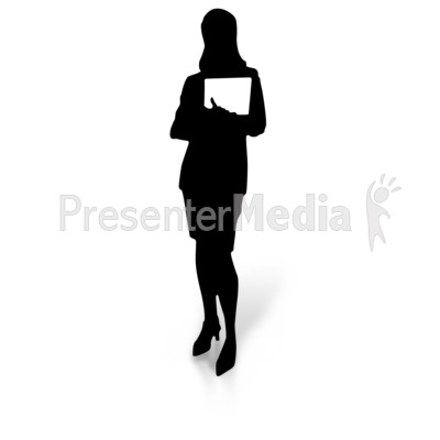 Woman Silhouette Holding Document Presentation clipart