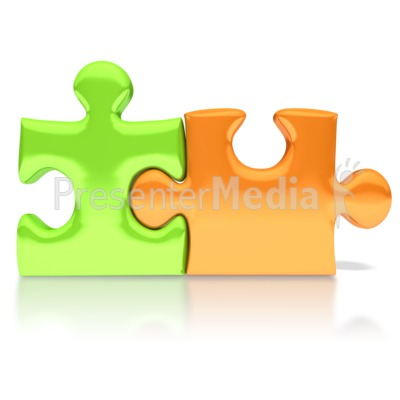 Orange Green Puzzle Pieces Connected Presentation clipart