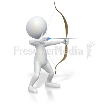 Stick Figure with Bow and Arrow  Presentation clipart