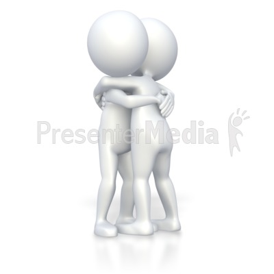 Stick Figures Giving Hug  Presentation clipart