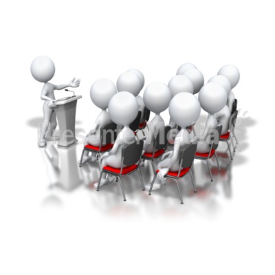 Stick Figure Podium Speech Group Presentation clipart