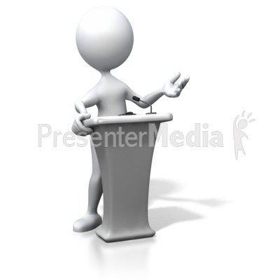 Stick Figure Podium Speaking Presentation clipart