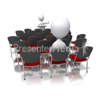 Stick Figure Speaking To Small Audience Presentation clipart