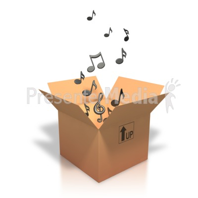 Music Notes Coming Out Of Box Presentation clipart