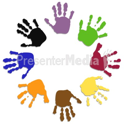 Colored Hand Circle Presentation clipart