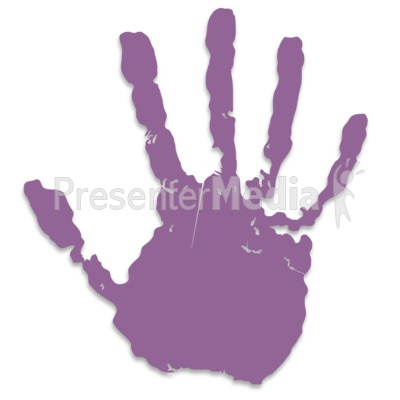 Single Purple Hand Print Presentation clipart