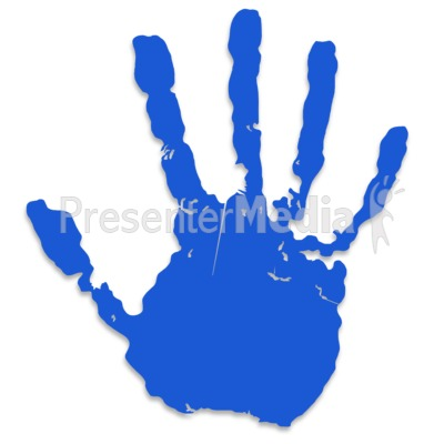 Single Blue Hand Print Presentation clipart