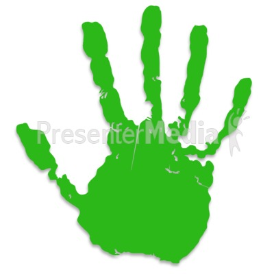 Single Green Hand Print Presentation clipart