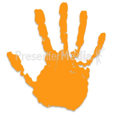 Single Orange Hand Print Presentation clipart