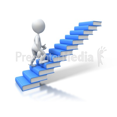 Stick Figure Walking Up Books Presentation clipart