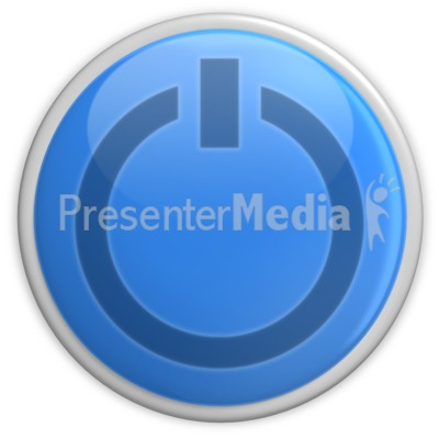 Blue Power Button  Presentation clipart
