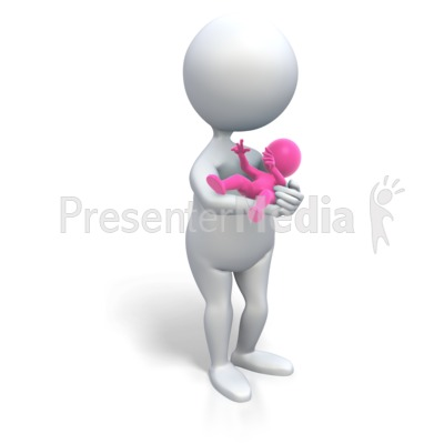 Mom Holding Baby Girl Presentation clipart