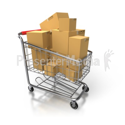 Shopping Cart Full Of Boxes Presentation clipart