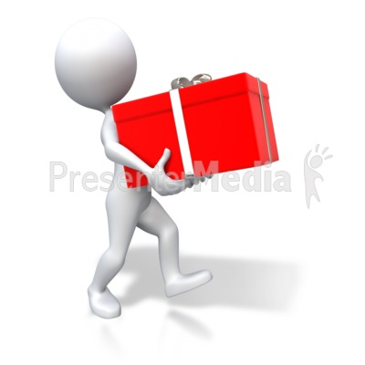 Stick Figure Carrying Red Gift Presentation clipart