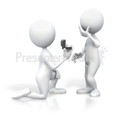 Stick Figure Proposing On Knee Presentation clipart