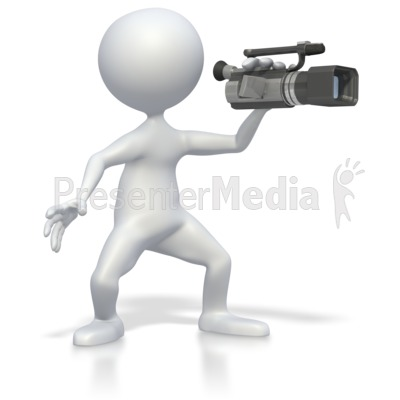 Stick Figure with Video Camera  Presentation clipart