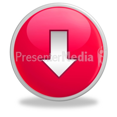 Glossy Red Button Arrow Down Presentation clipart