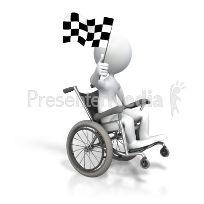 Stick Figure Wheelchair Checkered Flag Presentation clipart