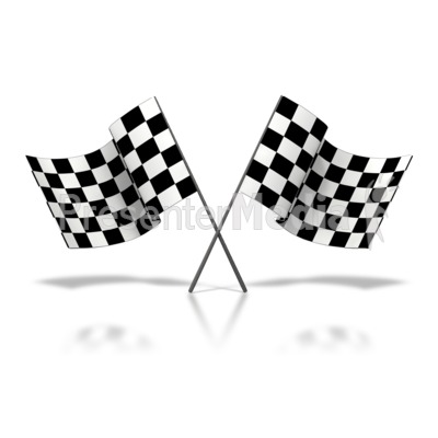Two Checkered Flags Waving Presentation clipart