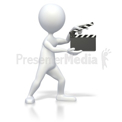 Stick Figure With Clap Board  Presentation clipart