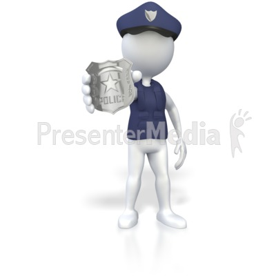 Police Officer Holding Badge  Presentation clipart