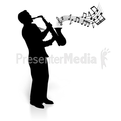Silhouette Saxophone Player Notes Presentation clipart