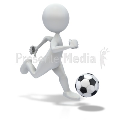 Stick Figure Dribbling Soccer ball Presentation clipart