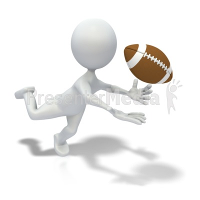 Stick Figure Catching Football Pass Presentation clipart