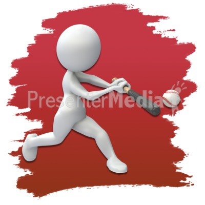 Stick Figure Baseball Icon Presentation clipart