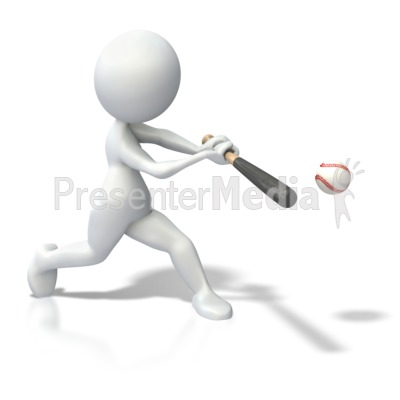 Stick Figure Swinging Bat Baseball Presentation clipart