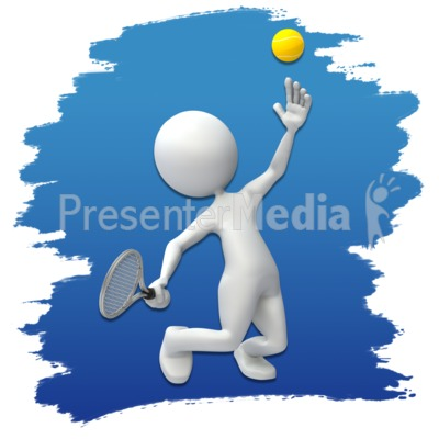 Stick Figure Tennis Icon Presentation clipart