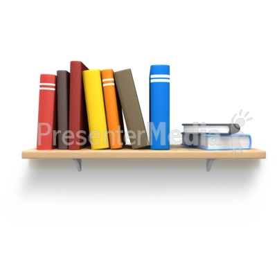 Books On Wooden Bookshelf Presentation clipart