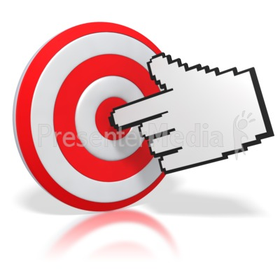 Mouse Finger Pointing a Bullseye Presentation clipart