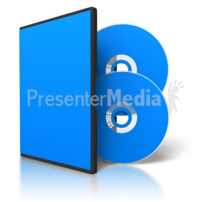 Two Colored Dvds And Blank Case Presentation clipart