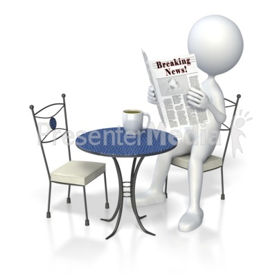 Stick Figure Coffee Newspaper  Presentation clipart