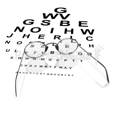 Glasses on Eye Chart  Presentation clipart