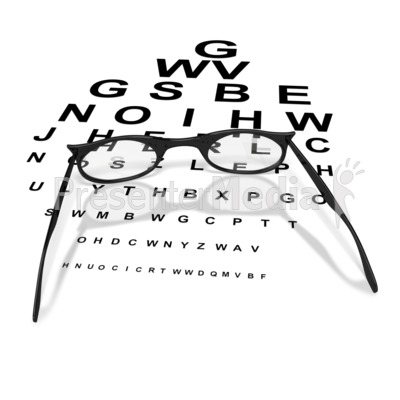 Womens Glasses with Eye Chart  Presentation clipart