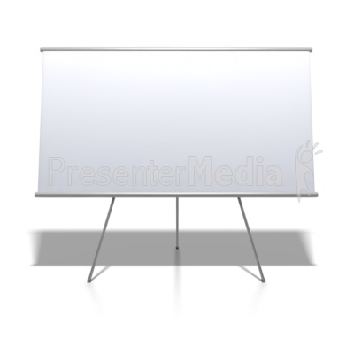 blank whiteboard on stand education and school great clipart for