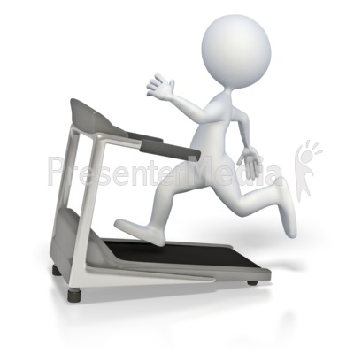 Stick Figure Running On Treadmill Presentation clipart
