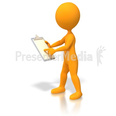 Stick Figure Pointing At Clipboard Presentation clipart
